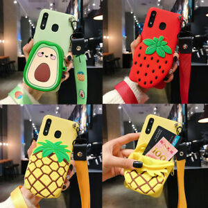 Cute Fruit Cartoon Wallet Hot New Lanyard Silicone Phone Case Cover For Samsung