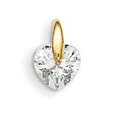 Madi K 14k Yellow Gold Children's Heart & Polished CZ Gift Charm Pendant
