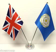 Union Jack GB & Yorkshire Friendship Flags Chrome & Satin Table Desk Flag Set