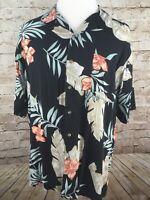 MENS XL Island Blue, Hawaiian Shirt, Tropical BLACK, XL, ALOHA CAMP SHIRT #A1