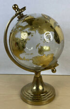 Vintage Gold  Glass Desktop Spinning Globe with Metal Stand Geometry World Earth