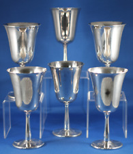 Set of 6 Silver-Plated Wine Goblets by Crescent Silverware