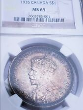 1935 MS63 CANADA SILVER DOLLAR/ TONED. From Roll 001