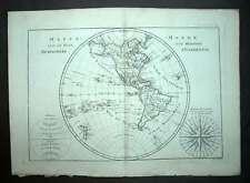 MAPPEMONDE GLOBE TERRESTRE AMERIQUE NORD ET SUD carte géographique de BONNE 1787