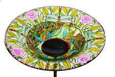Evergreen Garden 10 In Dragonfly Glass Bird Bath with Stake