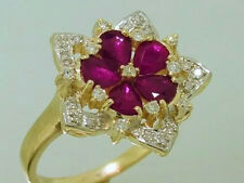 R207- Superb 9ct Solid Gold NATURAL Ruby & Diamond Daisy Blossom Ring size M