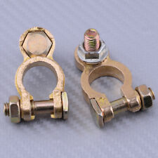 2pc Battery Copper Terminal Pile Clamp Clips Screw Connector Negative & Positive