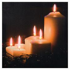 LED Bild Leinwand KERZENAMBIENTE Leuchtbild Kerzen Weihnachten Wandbild Flacker