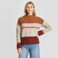 Universal Thread Womens Brown Striped Mock Turtleneck Pullover Sweater XS NWT