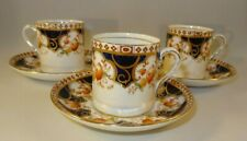 3 Wild Bros Gilded Demitasse Coffee Cans Or Cups & Saucers Tyne Pattern 1925 VGC