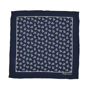 Ralph Lauren Purple Label Navy Silk Pocket Square Handkerchief New