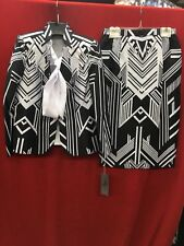 "TALLY TAYLOR SKIRT SUIT/SIZE 16W/SKIRT32""/RETAIL$320/BLACK/WHITE/BLOUSE INCLUDED"