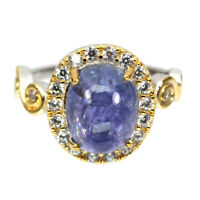 Unheated Oval Blue Tanzanite 11x9mm Natural Cz 925 Sterling Silver Ring