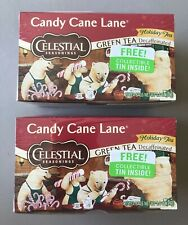 3-Celestial Seasonings Candy Cane Lane Green Tea Decaf Collectible w/Tin 60 Bags