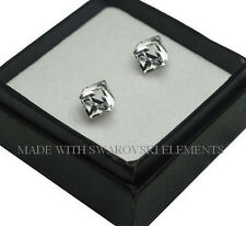 Sterling Silver Stud Earrings CUBE Crystal CAL 6mm Crystals from Swarovski®
