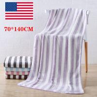 Cabana Beach Towels 70 x 140CM Striped Colors Bulk Coral Velvet Bath Towel