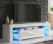 Modern TV Unit 130cm Cabinet White Matt and White High Gloss Doors FREE LED 7e930ee89e