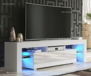 Modern TV Unit 160cm Cabinet White Matt and White High Gloss Doors FREE LED