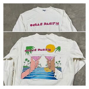 80s VTG OCEAN PACIFIC LONG SLEEVE T Shirt Beach Surf Scenic Cocktails S/M Miami