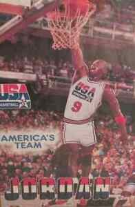 VINTAGE 1992 Michael Jordan Team USA POSTER Dream Team RARE NEW IN PLASTIC L@@K