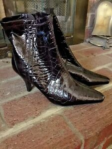 CATO WOMENS ANKLE SNAKE SKIN Crocs Alligator Sexy High Heels BOOTS SIZE 8.5 ❤