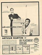 Publicité 1963  Machine à laver ARTHUR MARTIN  lave linge