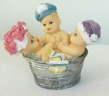 Adoarble Cute Babies with hat Bubble Bathing in Tub Baby Shower Figurine