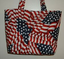 Handmade Fourth of July American Flag Stars Red White Blue Tote Purse Bag
