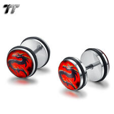 TT 10mm Clear Epoxy Stainless Steel Red Dragon Fake Ear Plug Earrings (BC10) NEW