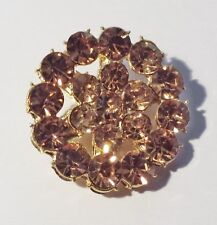 2 Gold Grade A Quality Amber Rhinestone Crystal Round Buttons Sewing 23mm M0323