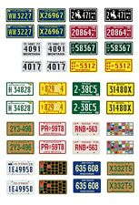 1/25 1/24 scale model car assorted TV movie semi truck license plates tags