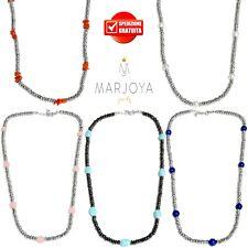 Collana girocollo corto con ematite,corallo,perle,turchese,onice in argento 925