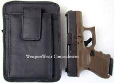 Black Leather Unisex Pistol Pack Belt Holster Concealment Concealed Carry #15 L