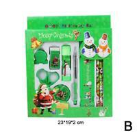 9pcs Pencil Ruler Eraser Sharpener Scissor Stationery Gifts Christmas Set V4J2