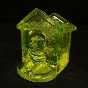 DOG HOUSE Westmoreland YELLOW VASELINE Glass TOOTHPICK MATCH HOLDER PUPPY Summit