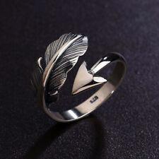 Anello in argento Sterling 925 ridimensionabile Piuma Freccia