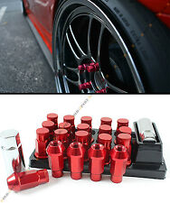 RED JDM SPEC R-STYLE CLOSE END EXTENDED WHEEL LUG NUTS+LOCK & KEY FOR MITSUBISHI