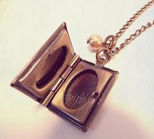 Antique Bronze Book Necklace-Vintage Style Jewellery Jewelry -Photo Love Locket