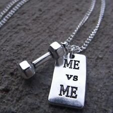 ME vs ME Letter Dumbbell Charm Men Women Necklace - Weights Gym Workout Muscles