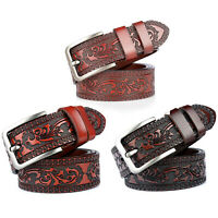 Men Cow Genuine Leather Belt Classic Retro Pin Buckle Strap for Jeans Waistband