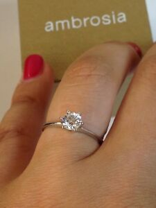 anello solitario donna oro bianco 18 kt 750% ambrosia zircone grif misura 13