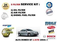 Per ALFA ROMEO GT 2004 - & GT 1.9 JTD Kit di servizio olio aria carburante filtro impostato 3x Filtri