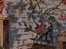 Vintage Barkcloth * Fruit, Tables, Curtains, Scenery, Vintage Home, Blue * Huge