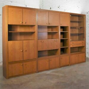 Vintage Modern Oak 4 Section Modular Wall Unit from Lord Series by Kämper Intl.