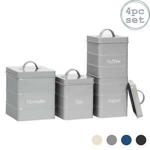 4x Kitchen Storage Canisters Set Tea Coffee Sugar Biscuit Vintage Metal Grey