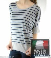 Viscose 3/4 Sleeve Tunic Striped Tops & Blouses for Women