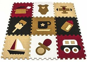 9 Puzzle Mat Interlocking Floor Tiles - Extra Thick Baby & Kids Foam Play Carpet