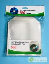 100 CD DVD BLURAY CPP Premium Clear Plastic Sleeve with Sealable Flap 100micron