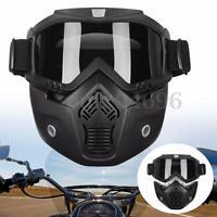 Modular Motorcycle Bike Riding Helmet Open Face Mask Shield Goggles Detachable