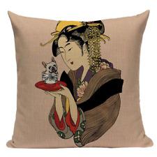 Geisha Teacup Pug Jp21 Cushion Pillow Cover Boston Terrier Woman Asian Japanese